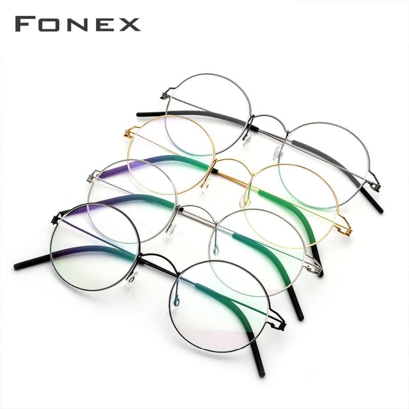 Closeout DealsFONEX Frame Women Screwless Eyewear Prescription Eyeglasses Myopia Optical-Denmark Round