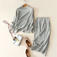Two Piece Set 2018 Autumn Winter 100% Pure Cashmere Sweater Women Pullover Knitted + High Waist Female Winter Knit Skirt Long
