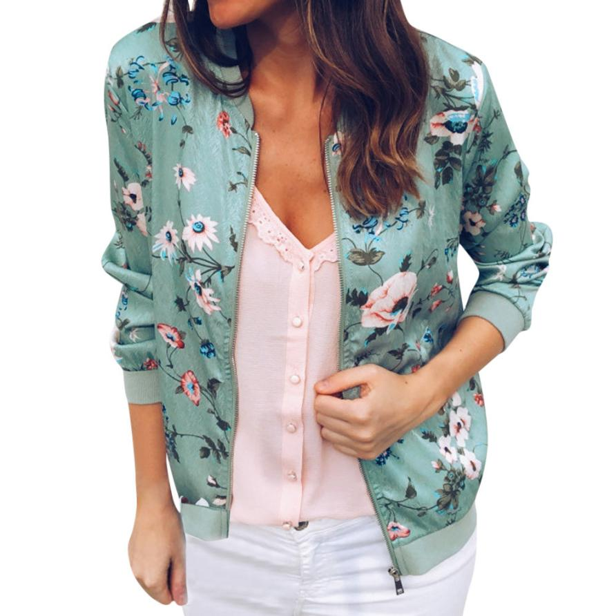 Outerwear & Coats Jackets Womens Ladies Retro Floral Zipper Up Bomber Outwear Casual coats and jackets women 18AUG10 9