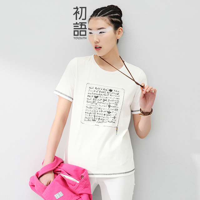 Toyouth 2017 Summer New Arrival  Women T-Shirts Print Letter Short Sleeve O-Neck Tees Fashion Cotton Casual Loose T-Shirts