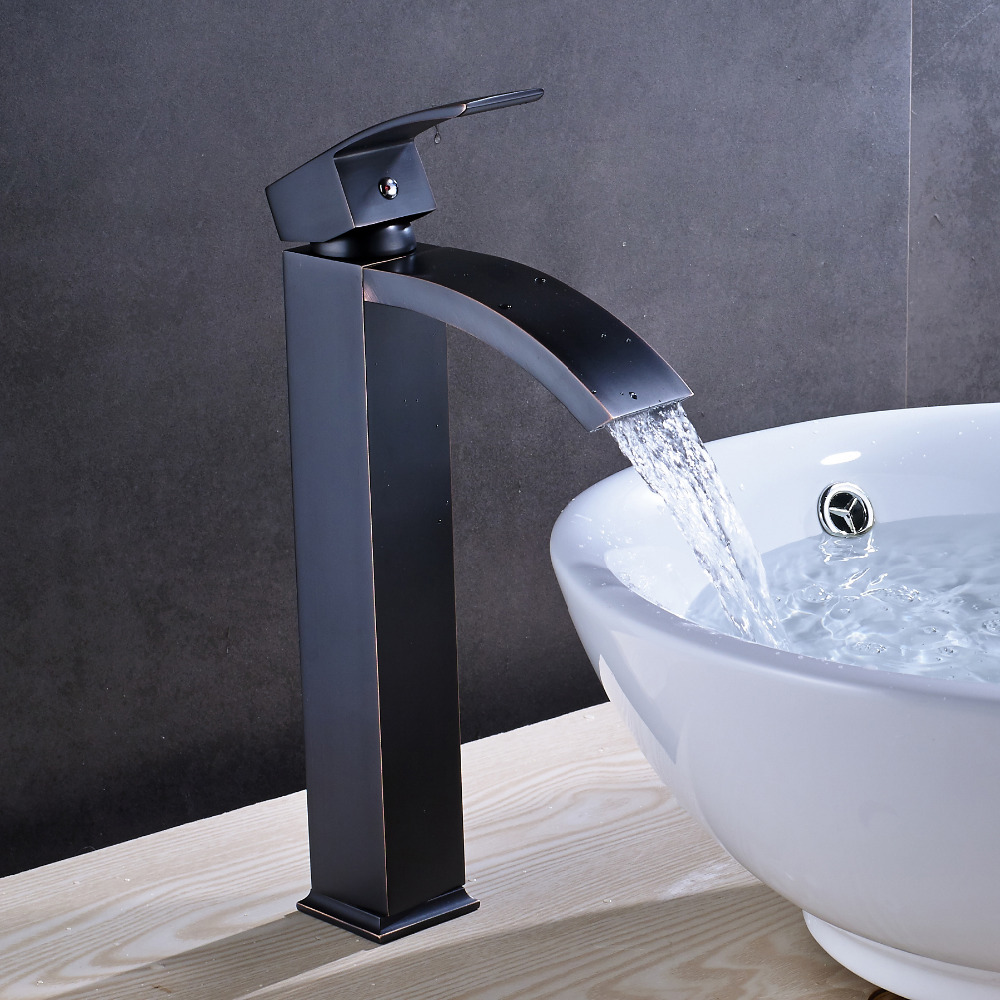 Solid Brass Luxury Tall Bathroom Faucet Oil Rubbed Bronze Sink ...
