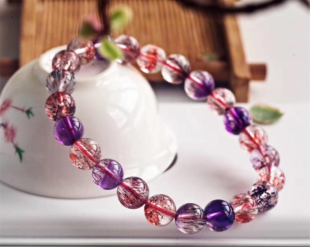 Genuine Natural Super Seven 7 Lepidocrocite Quartz Rutilated Crystal Round Beads Bracelet 8.2mm Women AAAAAA Certificate