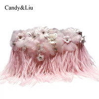 Small Bag The Trend Of Female 2017 Ladies Feather Powder Lace Flower Mini Handbag Coin Purse