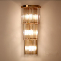 Art Design Crystal Glass Wall Lamp Hotel Restaurant Bedroom Home Plated Gold Brass Wall Sconces Clear Crystal Wall Light