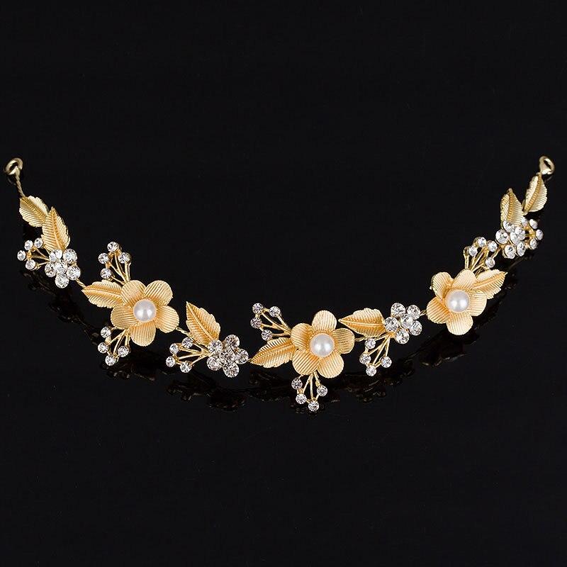 Wedding Bridal Hair Accessories Royal Tiara Silver Plated and Gold Color Metal Leaf Flower Crystal Hair Vine Tiara (4)