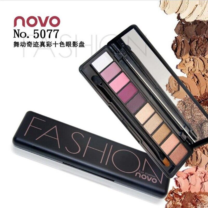 NOVO Fashion 10 Colors Shimmer Matte Eye Shadow Makeup Palette Light Eyeshadow Natural Makeup Cosmetics Set With Brush