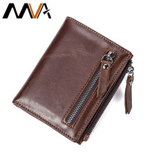 MVA Men Wallets Genuine Leather Wallets for Credit Card Holder Zip Small Wallet Man Leather Wallet Short Slim Coin Purse Men 604(China)
