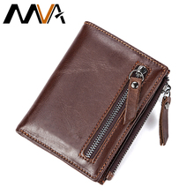 MVA Men Wallets Genuine Leather Wallets for Credit Card Holder Zip Small Wallet Man Leather Wallet