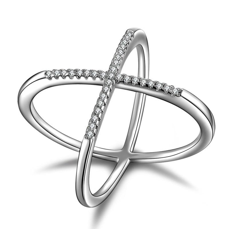 925 Silver X Cross Ring Fine