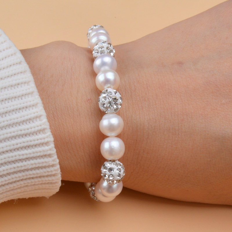 ASHIQI Bracelets Bangles Ball Jewelry Clay Zircon Freshwater Pearl Natural Women White