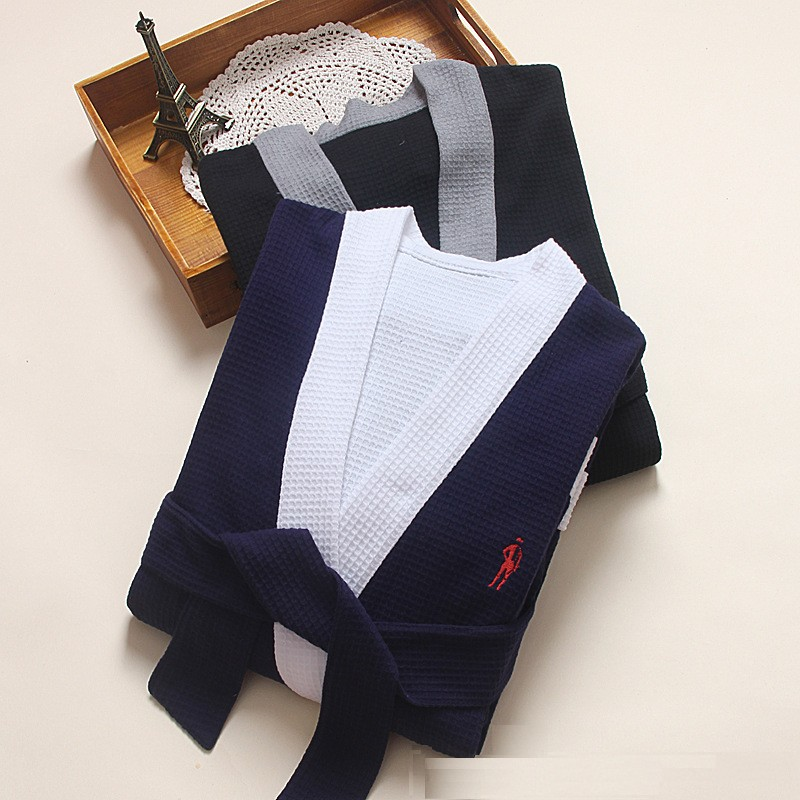 luxury spa robes cotton waffle robe blue mens bath robe dressing ...