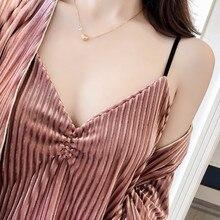 Duas Peças Femininas Sexy nightgowns Set Outono Inverno de veludo tarja homewear Calças Mulheres de Manga Comprida Camisola
