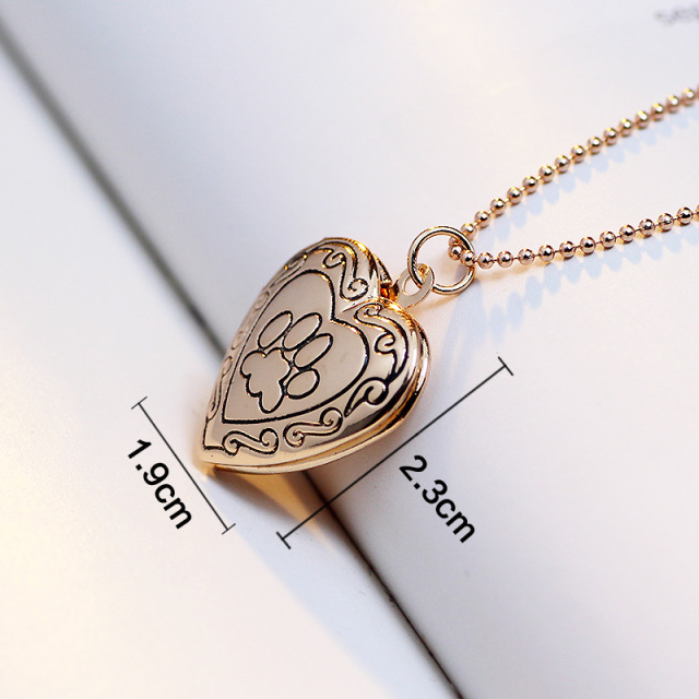 SUTEYI Photo  Necklace Silver/Gold Color Pendant Pet Cat Dog Paw Footprint Mother's Day Gift Necklace Jewelry 1