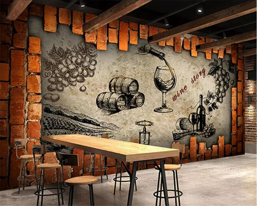 Beibehang Custom Wallpaper Mural Photo Retro Industrial Style Wine Storage Room Wine Cellar Estate Wine Room Decorative Mural Wallpapers Aliexpress