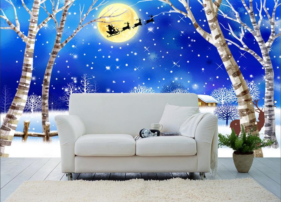 customize 3d wallpaper modern Cartoon Christmas Snow at Night 3d