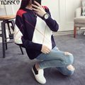 2016 Winter Women Sweater New Fashion Knitted Argyle Pullovers High Quality Sweaters O-Neck Pull Femme Sweter Mujer SZQ079