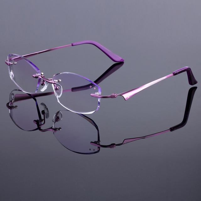 Phantom mulheres armação sem aro mulheres titanium liga frame ótico óculos sem aro de diamante corte corte com lentes gradiente matiz