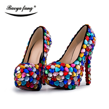 Big Multicolor Crystal Wedding shoes Bride platform shoes women fashion Party dress shoes woman high heels