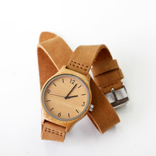 Newest Fashion Womens Leather Bamboo Wooden Watches With Long Geunine Leather Watchbands Best Gifts For Girl