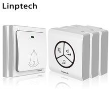 Linptech Linbell G1 electronic wireless door bell no battery 433mhz home deaf doorbell light EU/US/UK plug 2 button 3 receiver