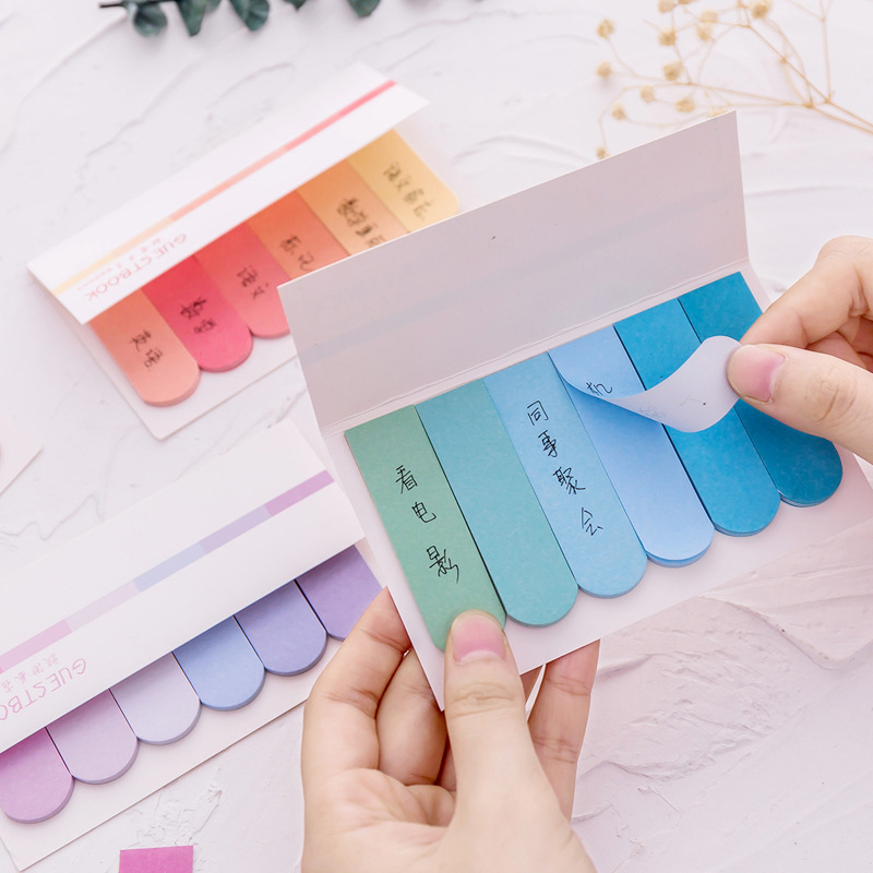 2 PCS Cute DIY Color Gradient Office Novelty Sticky Notes Planner Stickers Page Index Post School Office Supplies Stationery Karachi