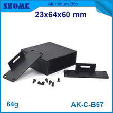 4pcs lot small black aluminum cabinet for electronics wall mounted junction housing 24x64x60mm