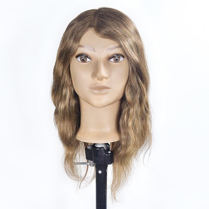 45 cm Épais 100% Vrais Cheveux Humains Pratique Tête de Formation avec Pince Support De Coiffure Mannequin Tête Mannequin Tête Modèle