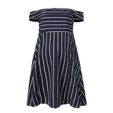 Shoulderless Clothe For Pregnant Women Summer Stripe Maternity Dress Short Sleeve Party Dress Pregnant Clothes Vestido Sexy z412(China)