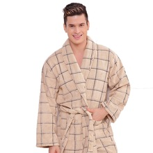 Men's and women's cotton bathrobe towel fleece pajamas sleepwear nightgown for men long soft warm female male homewear winter