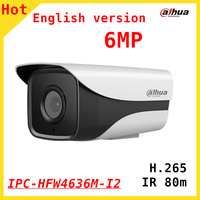 English Version Dahua 6MP IP Camera DH IPC HFW4636M I2 Bullet IR 80M 1080P Waterproof Outdoor