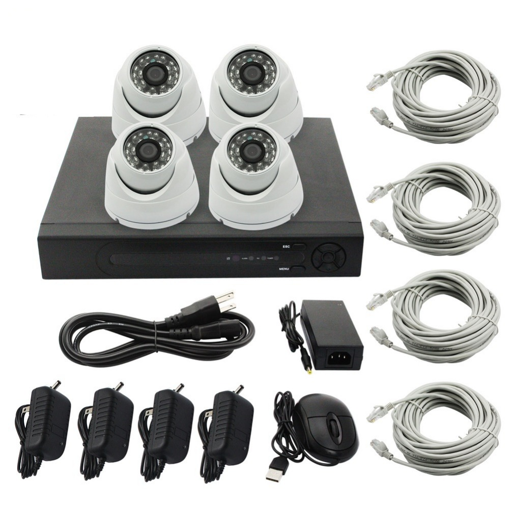 цена на Home Surveillance System 4CH 720P IP Security Camera NVR Kit System With 4 Indoor /Outdoor IR LED Dome IP Camera 720P 1MP P2P