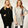 ZANZEA 2017 Stylish Slim T Shirt Women Sexy Black Gray Cotton Long Batwing Sleeve Loose Shirt Dress Plus Size Tops Tees T-Shirt