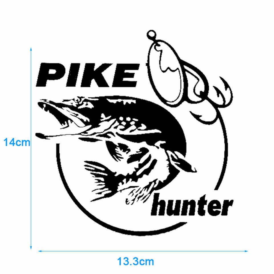 Стикер для автомобиля с изображением щуки охотника рыбы животного, Виниловая наклейка, декор для автомобиля, стильный кузов Машины окно, стикер для украшения стен s 13,3 см * 14 см