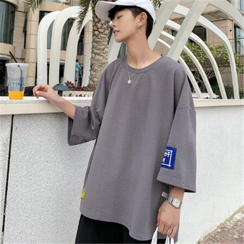 Summer Men's Seven-point Sleeves Hong Kong Style Large Size Short-sleeved T-shirt Large Size Men's Men's Loose T-shirt Wholesale