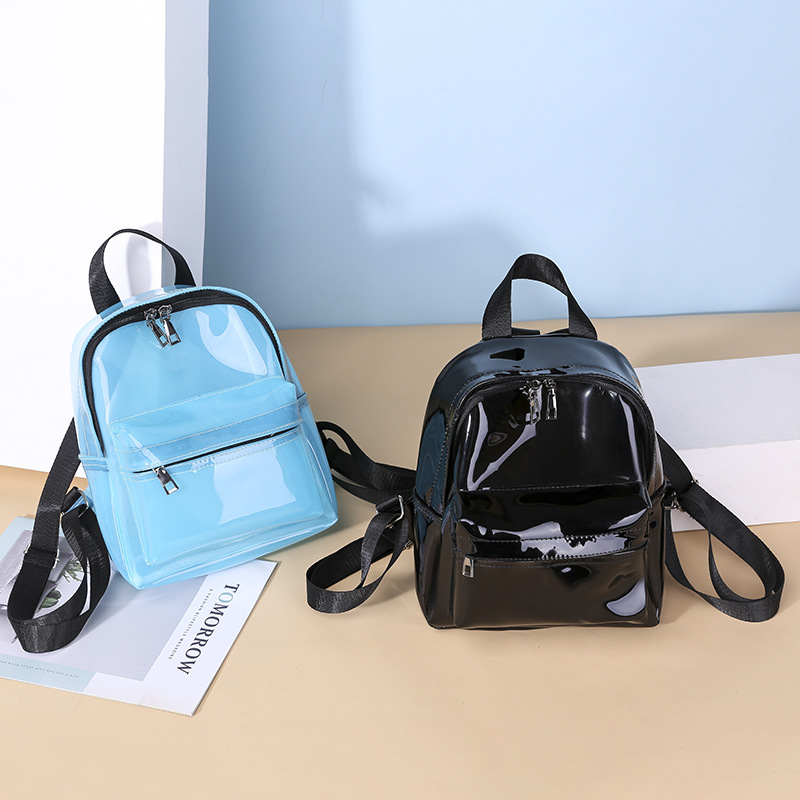 Female Fashion Solid Color Small Clear Transparent Women Backpacks PVC Jelly Mini Teenage Girls Student Schoolbag Shoulder Bags in Backpacks from Luggage Bags