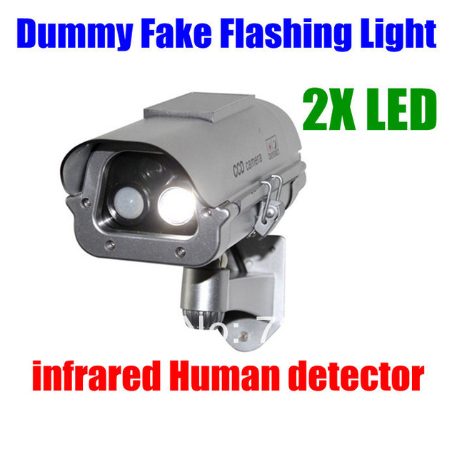 Solar Powered  Outdoor CCTV Home Security decoy Fake Dummy Camera Cam With Flashing Infrared LED Lights+Human Sensor detection