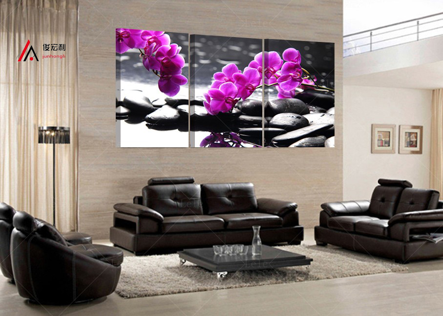 3 Pieces home decoration artwork modular pictures pebbles and orchid - Home Decor - Photo 1