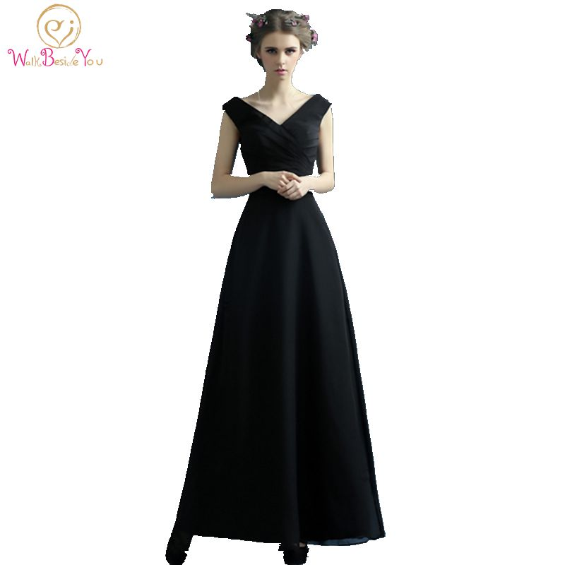 100 Real Images Cheap Long Little Black Dresses Evening V neck Simply Floor Length Party Formal