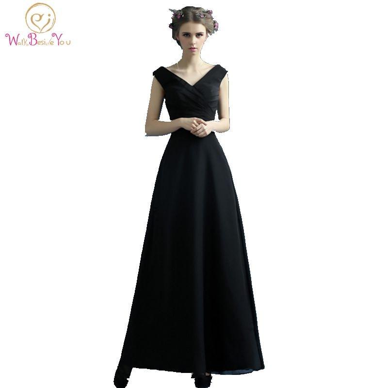 100% stvarne slike Jeftini duge malo crne haljine Večer V-izrez - Haljina za posebne prigode - Foto 1