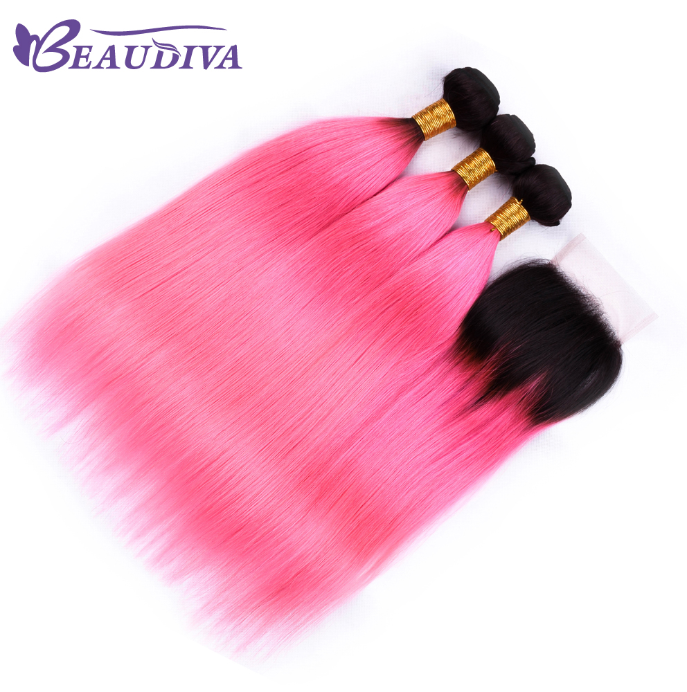Beaudiva Ombre Peruvian Straight Human Hair T1B/Pink 3 Bundles With Closure 100% Human Hair Extensions With 4*4 Lace Closure