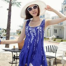Women Lady Sexy Hollow Out Loose Crochet Hot Summer Dress Sleeveless Swimsuit Bikini Cover Up Beach