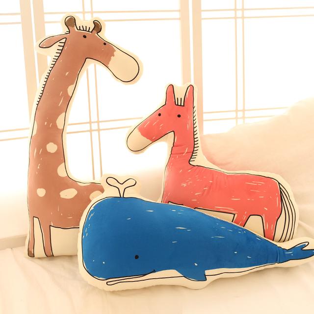 Envío de la gota Lovely elefante cocodrilo jirafa juguetes de peluche 3D Impresión animal caballo almohada cojín infantil Cojín Animales