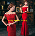 2016 hot sale new Evening dress bride fashion red formal women dress long fishtail slim Off Shoulder Vestidos de fiesta