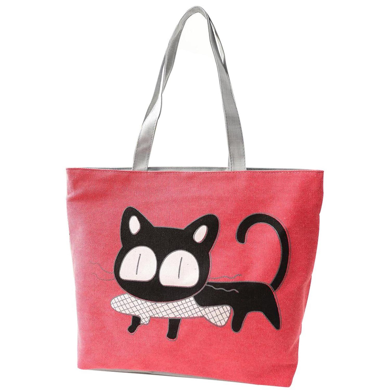 3d037528edd41 Dziewczyna kot jeść ryby torba Na Ramię Kobiety Torebki plaży dużego  ciężaru torby torebki na zakupy czerwony