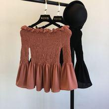 2017 Summer Women Blouse shirt Elegant Sweet Chiffon Slash neck Flare Sleeves  Blusa Top