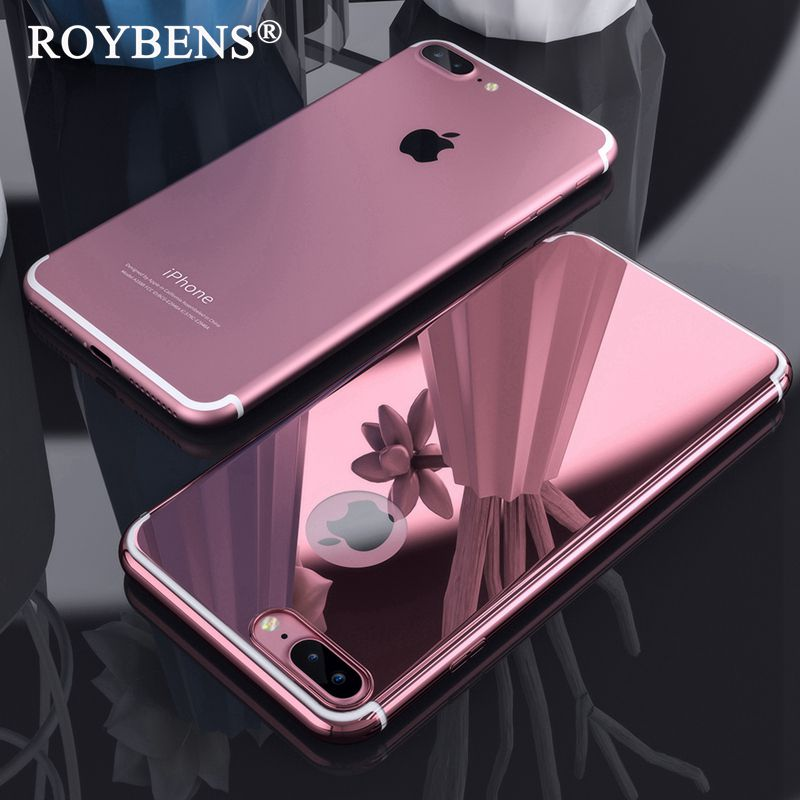 Roybens For iPhone 7 Luxury Case Cute Metal Effect Mirror