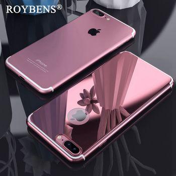 Roybens Pour iPhone 7 De Luxe Cas Mignon En Métal Effet Miroir Cas Pour iPhone 6 6 S Plus 7 7 Plus Brillant Ultra Mince Dur de Couverture Arrière