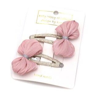 Neuheiten 2 teile/paket Kinder Haarnadeln Headwear Set Kinder Prinzessin Helle Seide Bogen bb Haar Clips für Mädchen Haar Zubehör