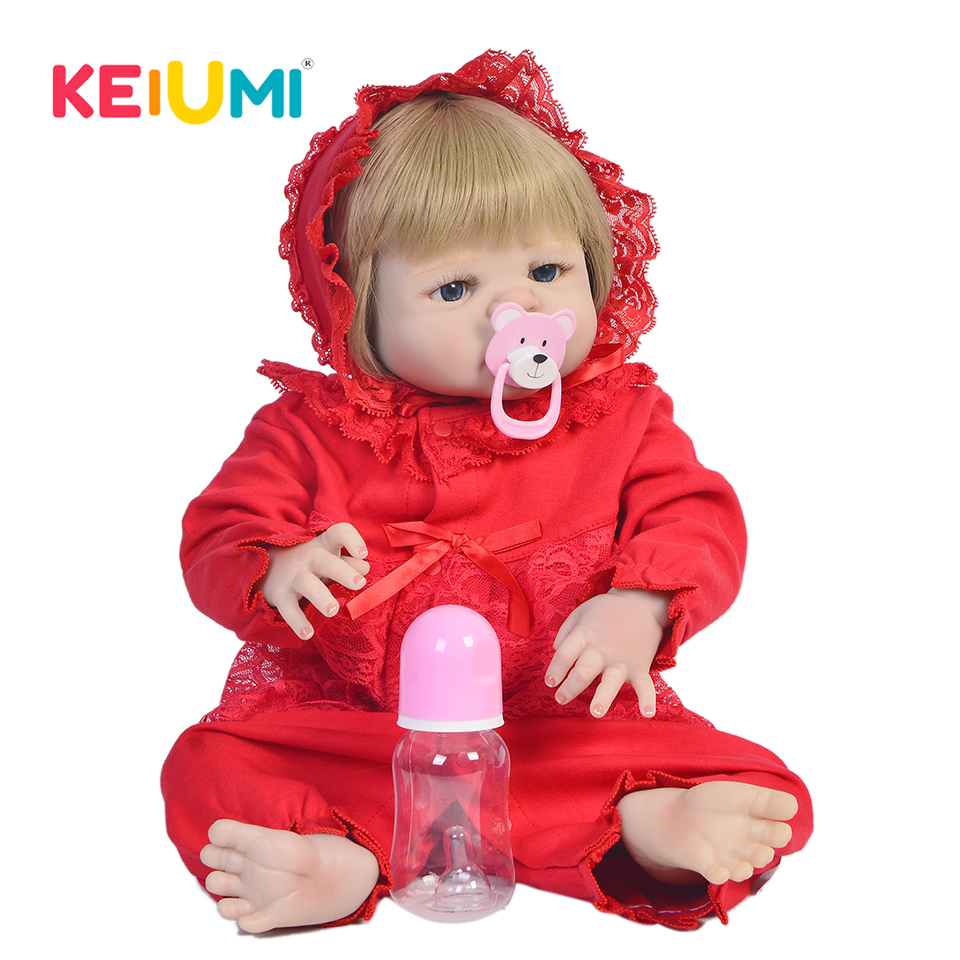 KEIUMI 58 cm Full Silicone Body Reborn Baby Doll Toy Like Real 23 Inch Newborn Girl Princess Babies Doll For Kids Birthday Gifts keiumi 23 inch reborn baby doll full body silicone princess babies girl real like new born doll boneca reborn kids playmates
