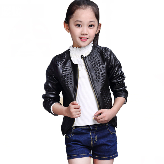 056ac869bd13 Spring Autumn Fashion Kids Leather Jacket Girls PU Jacket Children ...
